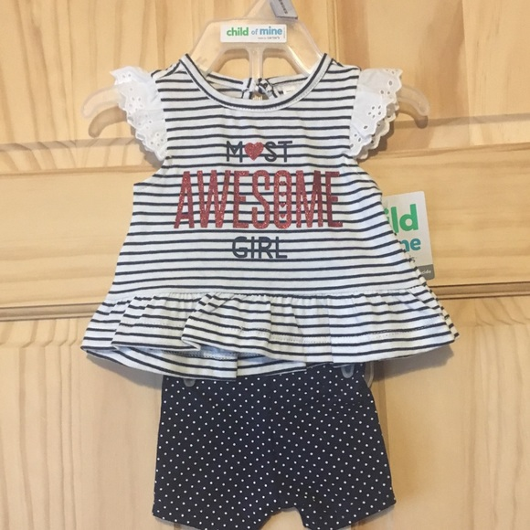 Child of Mine Carter/'s Dark Blue Polka Dot Dress 0-3  3-6 12 Month New With Tags
